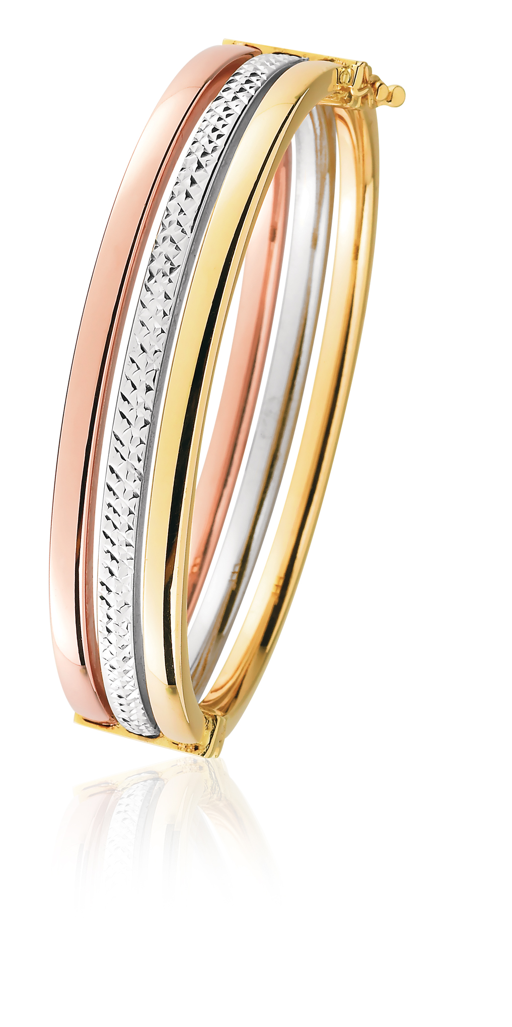 9ct Yellow Gold, White Gold & Rose Gold Bangle