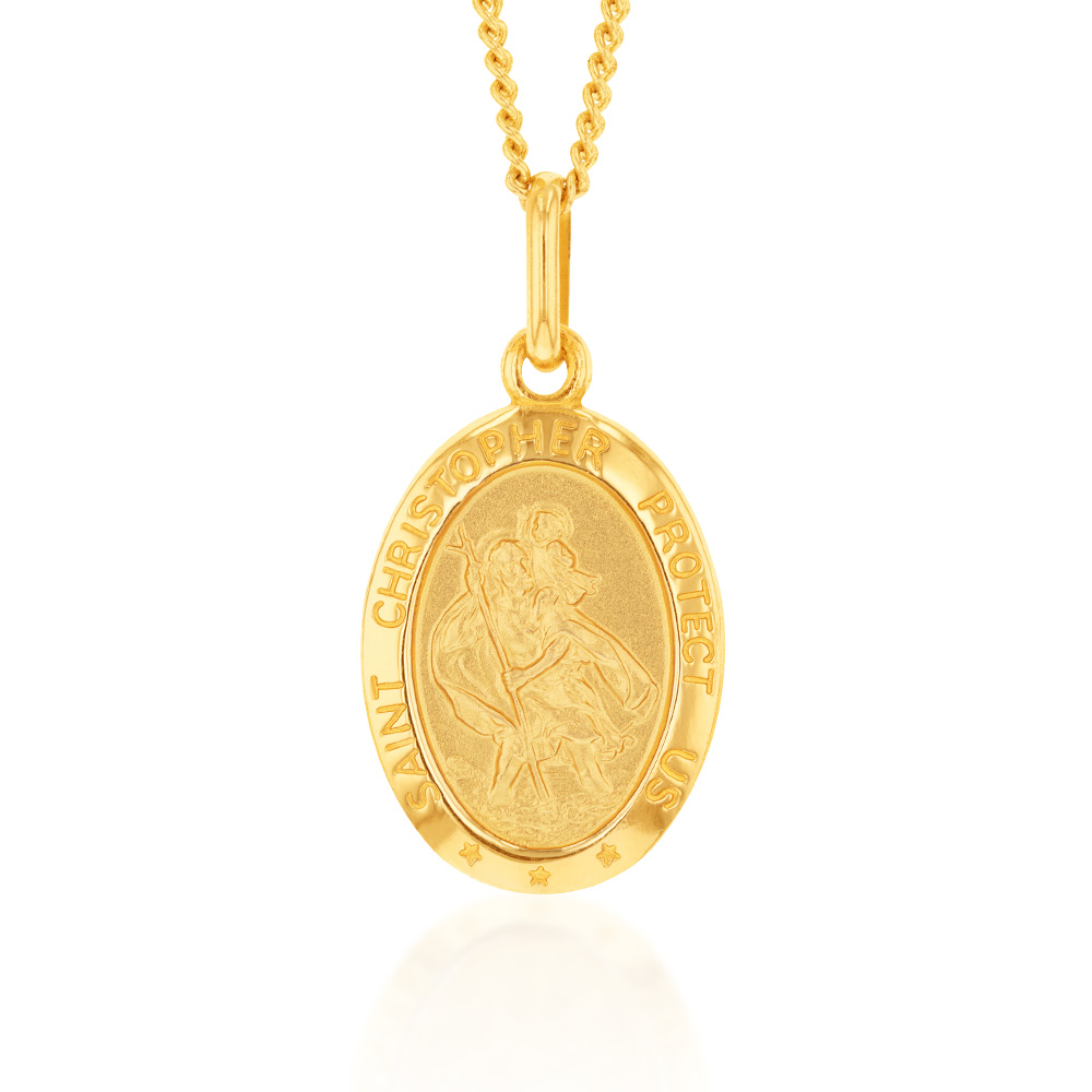 9ct Yellow Gold St Christopher Oval Pendant