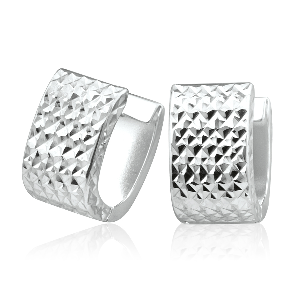 9ct White Gold Diamond Cut Hoop Huggie Earrings