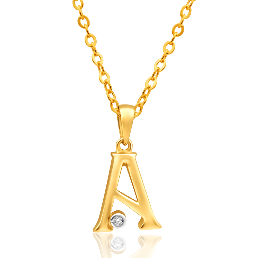 9ct Yellow Gold Pendant Initial A set with diamond