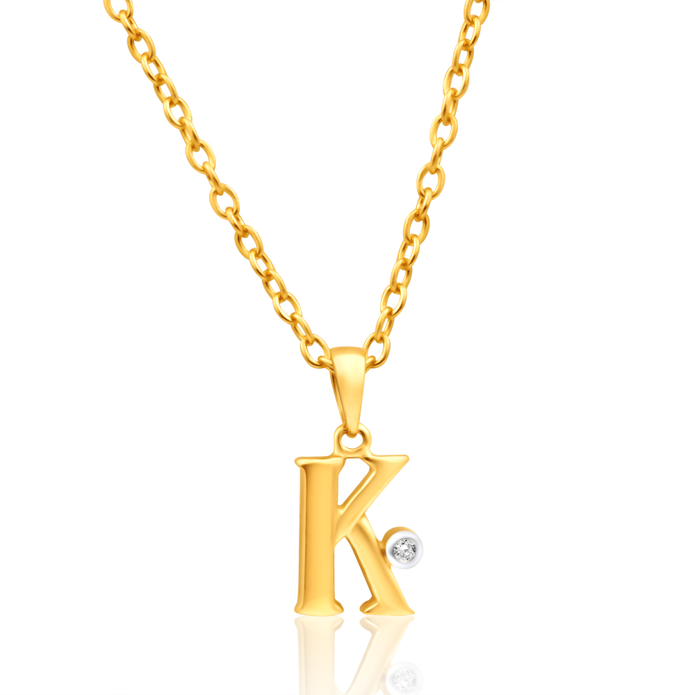 9ct Yellow Gold Pendant Initial K set with diamond