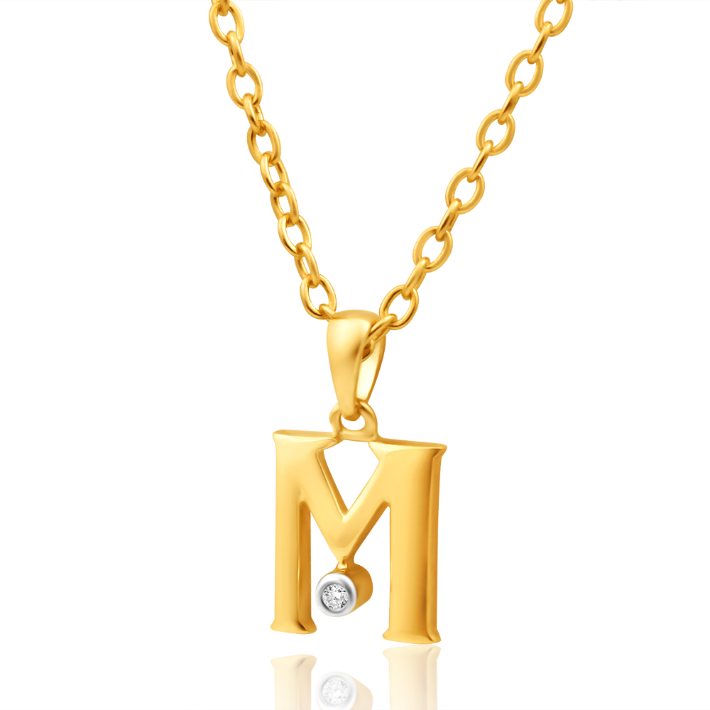 9ct Yellow Gold Pendant Initial M set with diamond