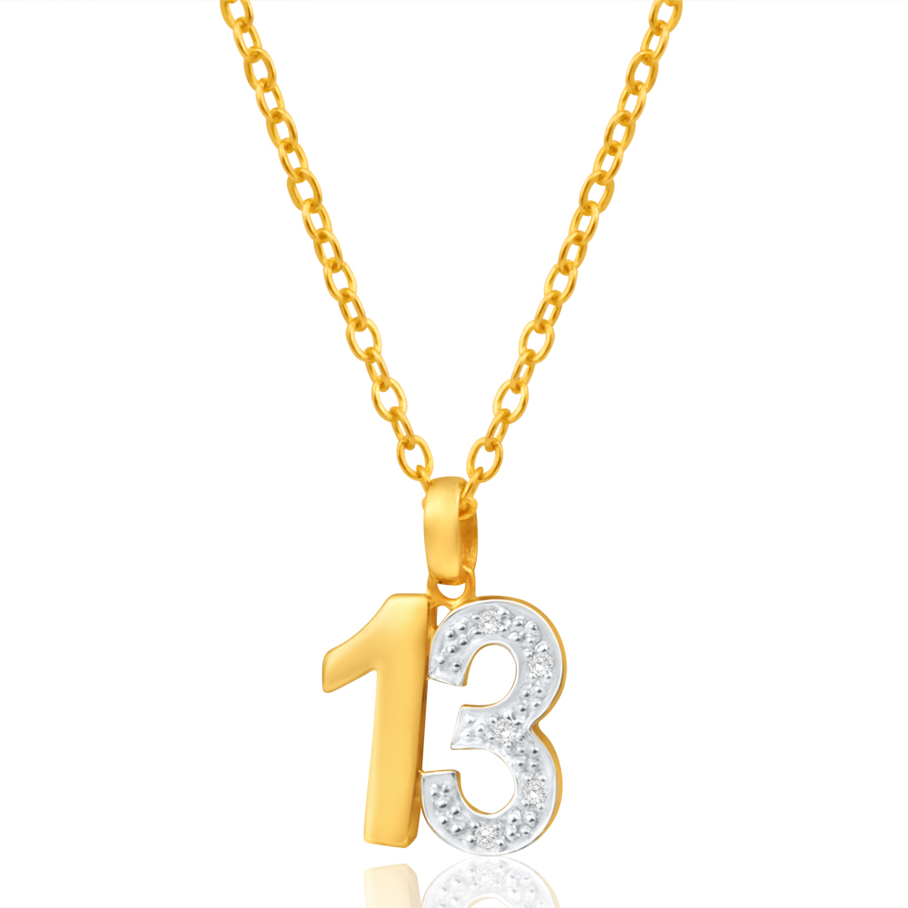 9ct Yellow Gold 13 Diamond Pendant