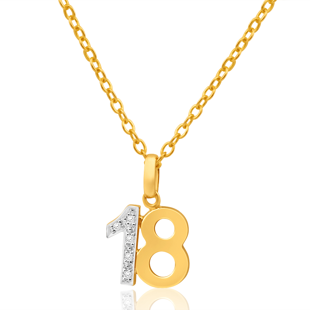 9ct Yellow Gold 18 Diamond Pendant