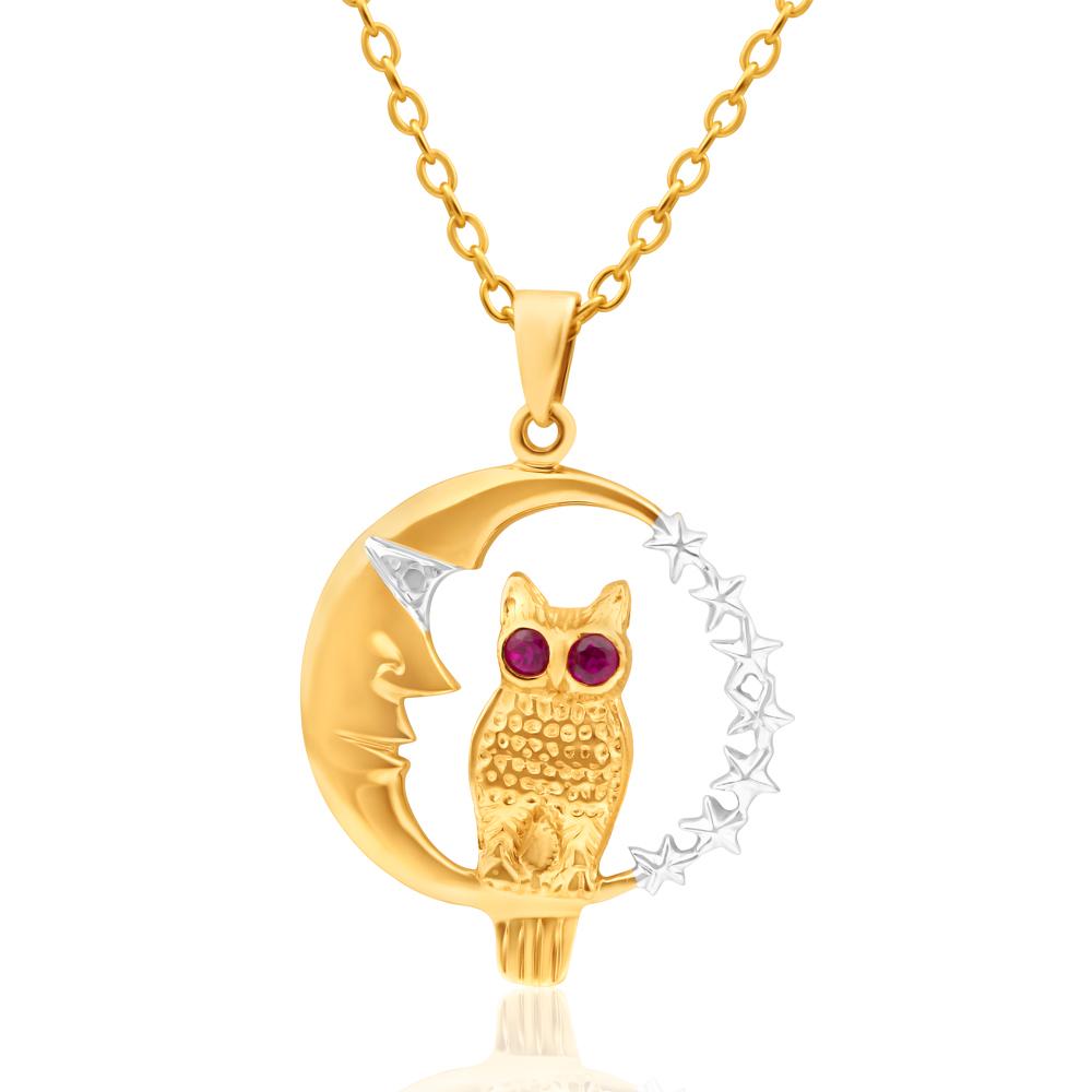 9ct Yellow Gold Ruby Set Owl & Moon Pendant
