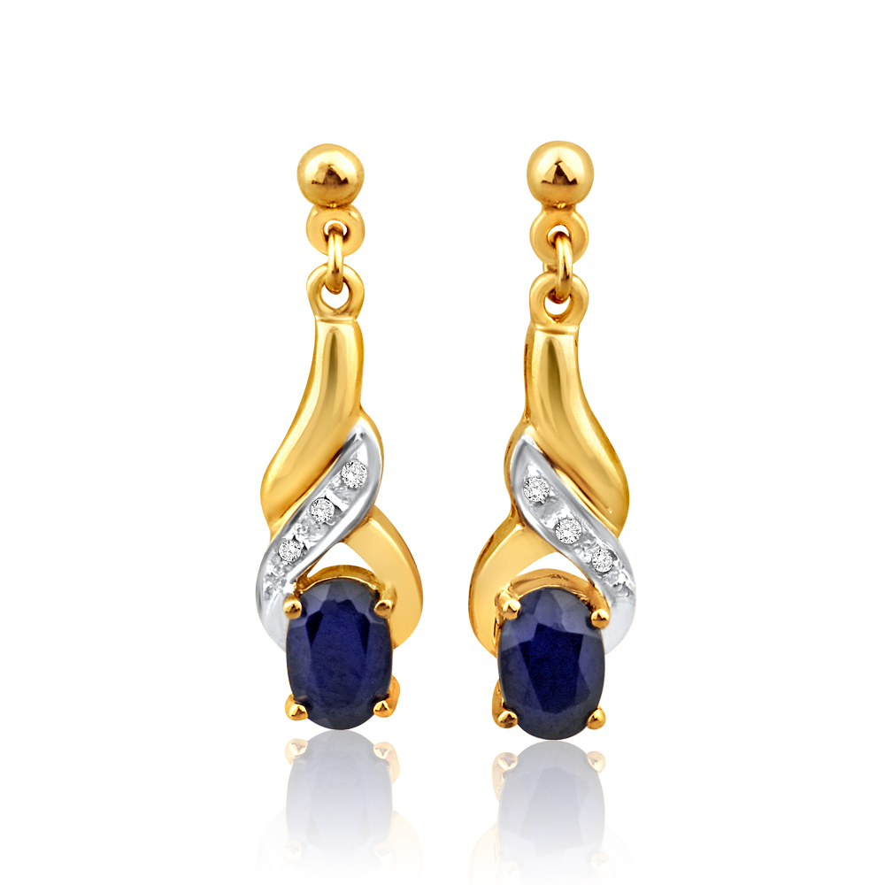9ct Alluring Yellow Gold Natural Sapphire and Diamond Drop Earrings