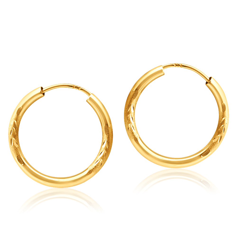 9ct Yellow Gold Diamond Cut Hoop Earrings