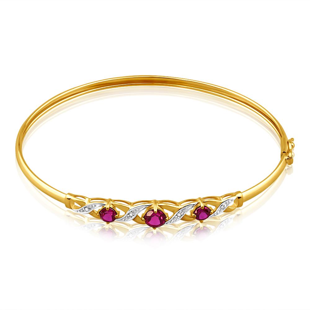 9ct Alluring Yellow Gold Created Ruby + Diamond Bangle