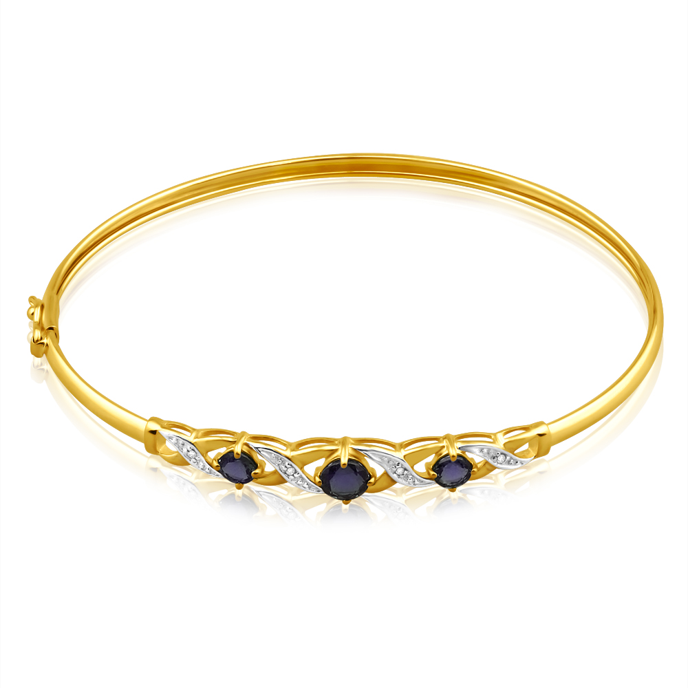 9ct Yellow Gold Diamond + Natural Sapphire Bangle