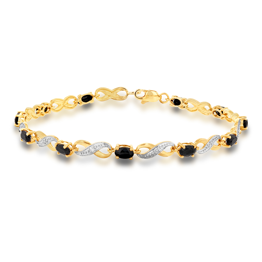 9ct Yellow Gold Natural Black Sapphire and Diamond Infinity Bracelet 18cm
