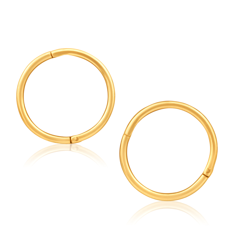 9ct Yellow Gold Hoop 10mm Sleeper Earrings