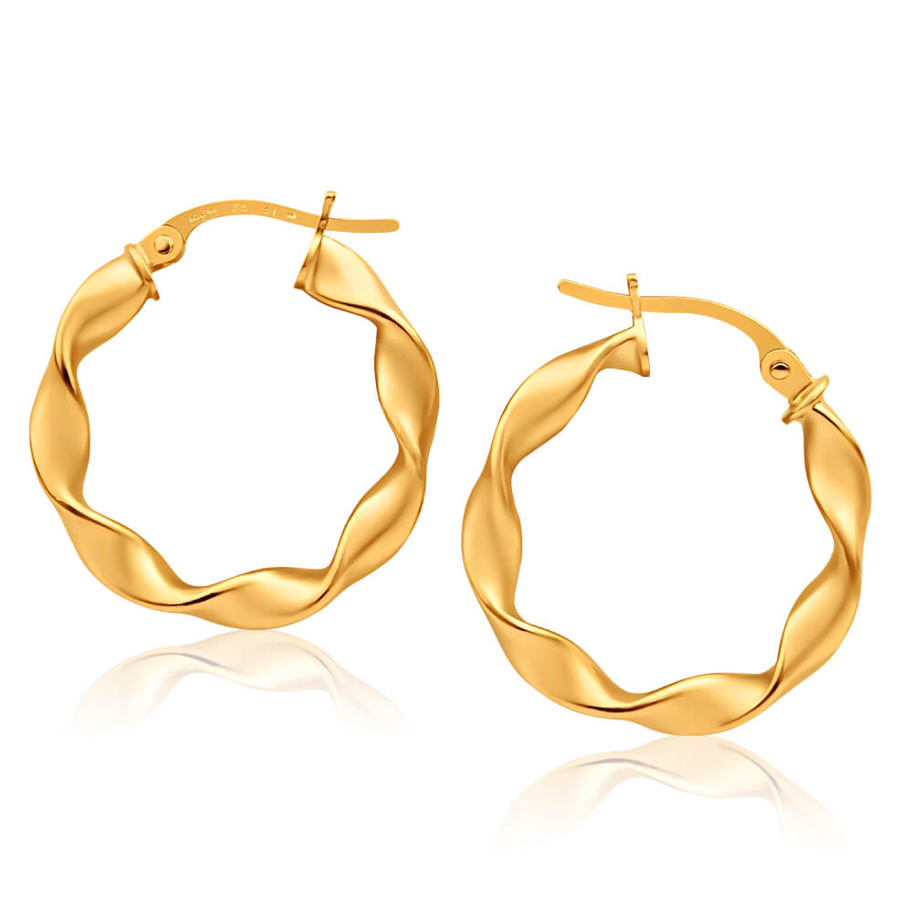 9ct Yellow Gold Hoop Twist Earrings