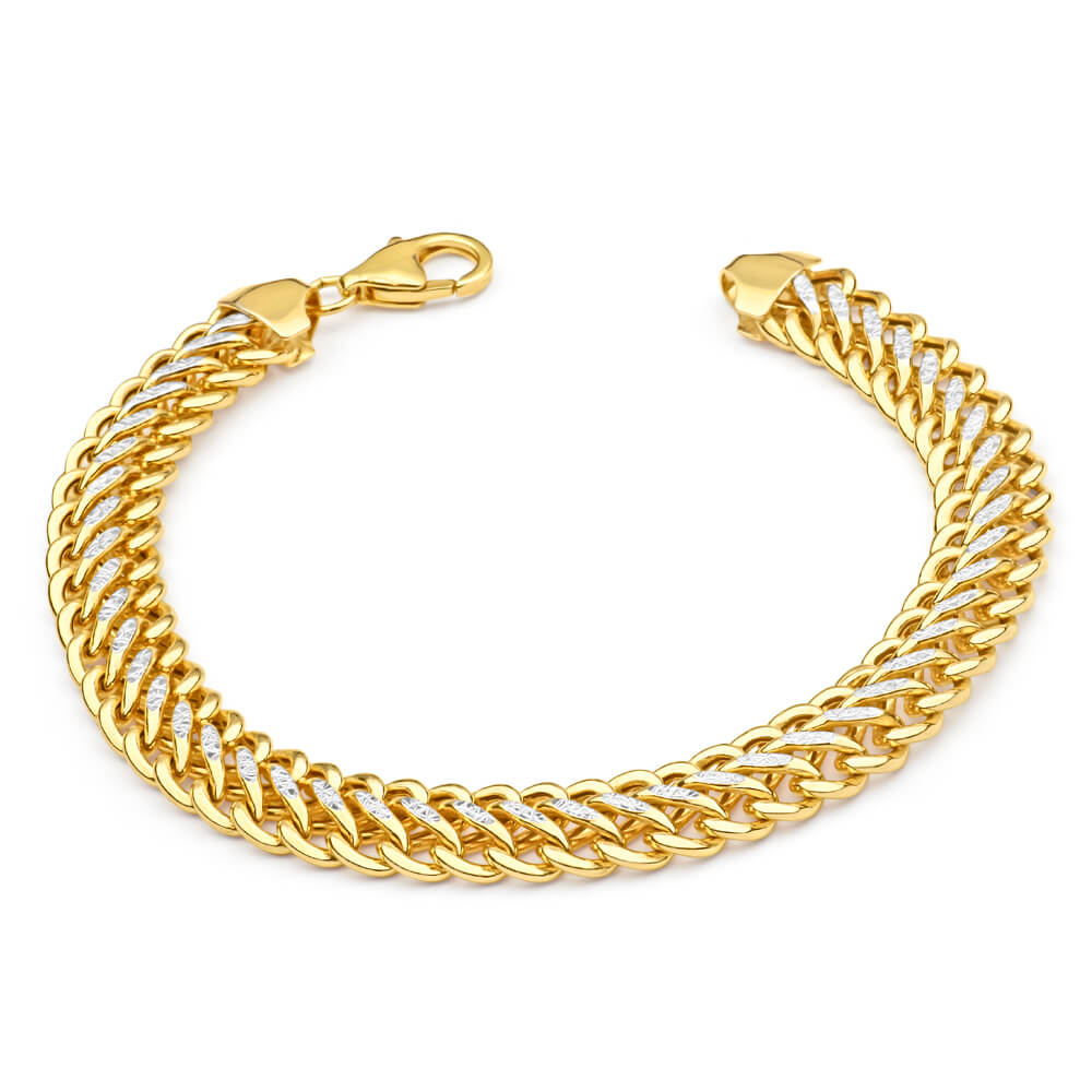 9ct  Yellow Gold & White Gold Fancy Bracelet