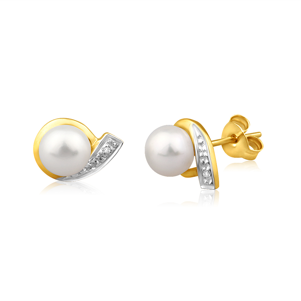 9ct Dazzling Yellow Gold Diamond + Freshwater Pearl Stud Earrings