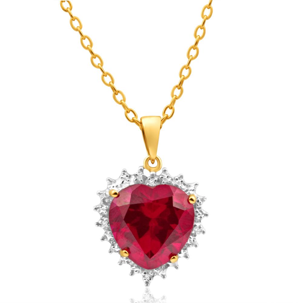 9ct Radiant Yellow Gold Created Ruby + Diamond Heart Pendant