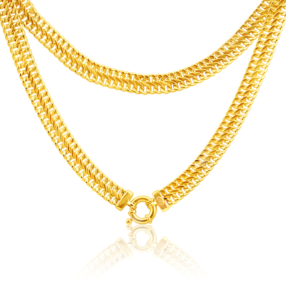 9ct Yellow Gold Copper Filled Mesh 45cm Chain 100Gauge with a Boltring