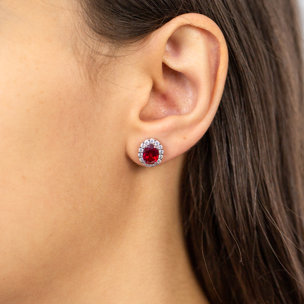 9ct Yellow Gold Created Ruby Oval + Cubic Zirconia Halo Stud Earrings