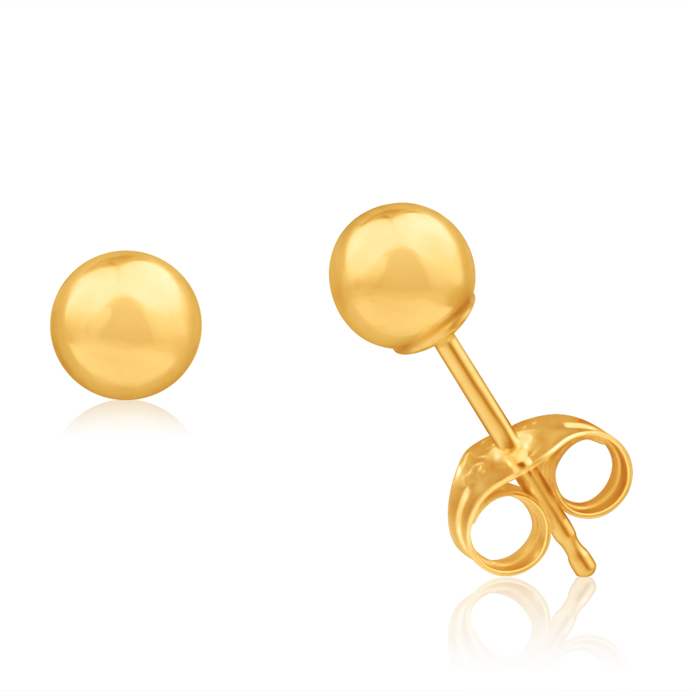 9ct Yellow Gold Ball 4mm Stud Earrings