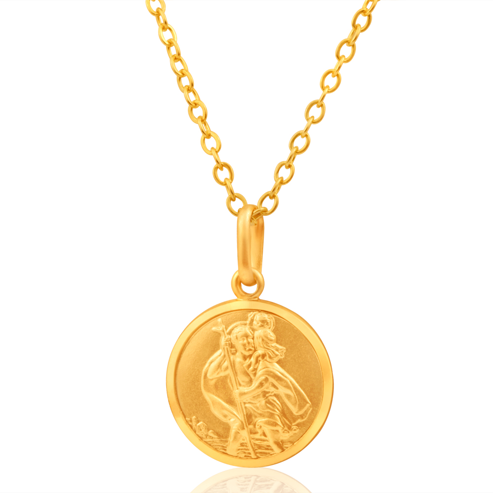 9ct Yellow Gold 14mm St Christopher Round Pendant