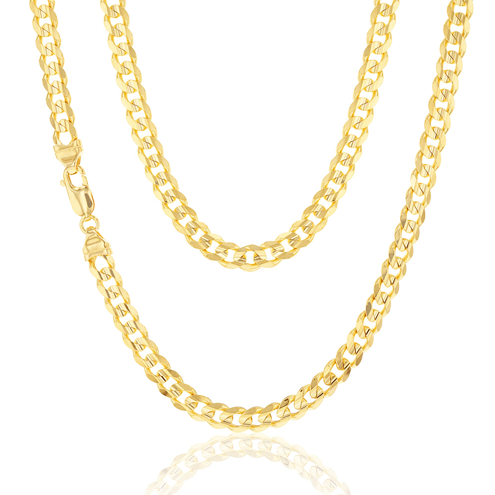 9ct Yellow Gold 55cm 170 Gauge Curb Chain