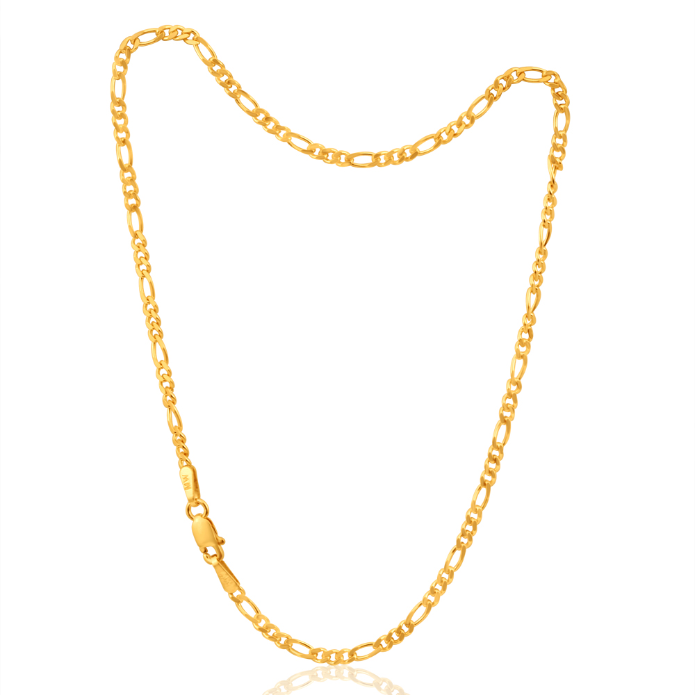 9ct Yellow Gold 1:3 Figaro 25cm Anklet 60Gauge