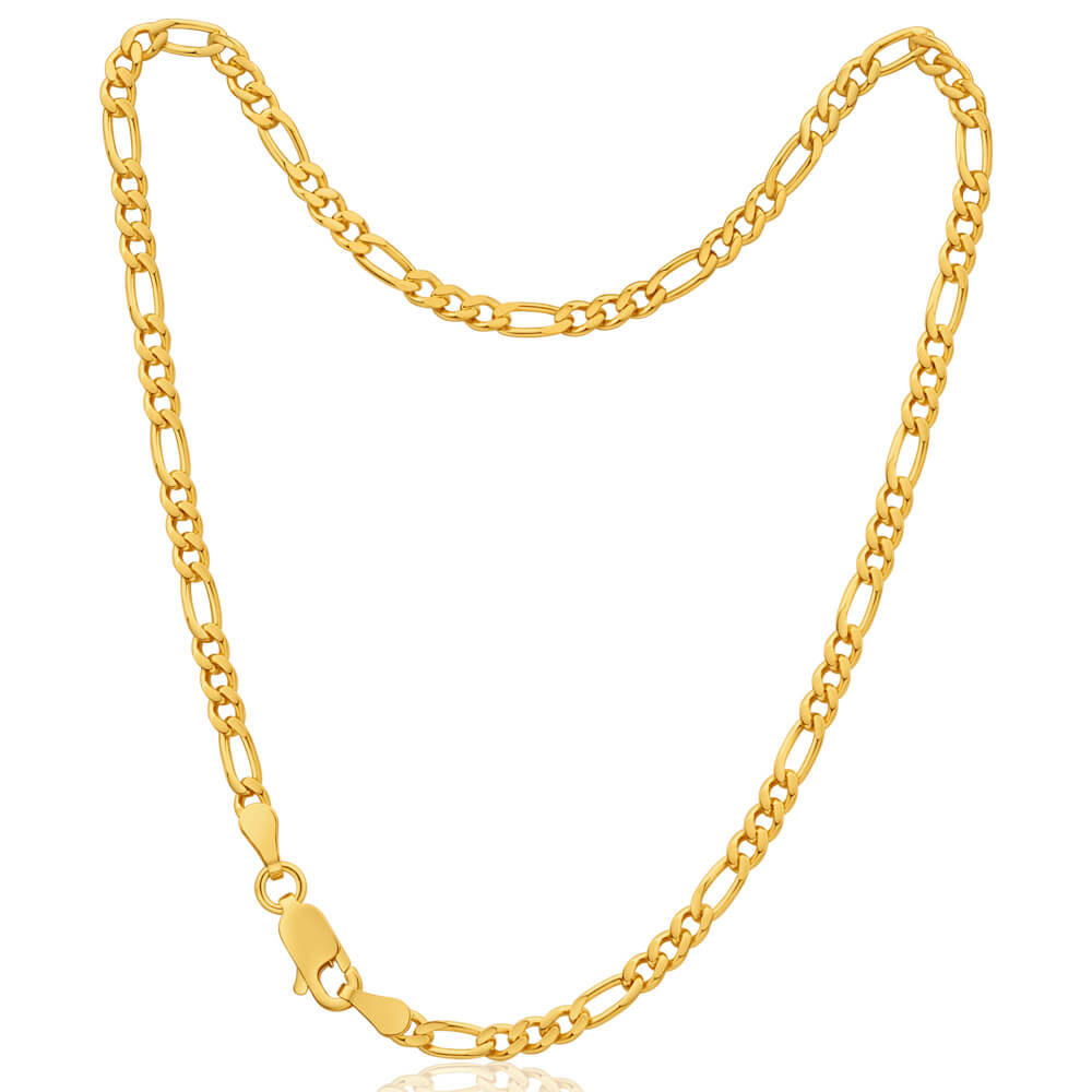 9ct Yellow Gold 1:3 Figaro 80Gauge 27cm Anklet