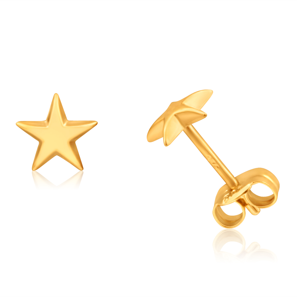 9ct Yellow Gold Small Star Stud Earrings