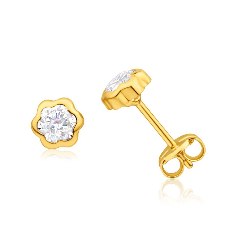 9ct Yellow Gold Flower Shaped Bezel Set Cubic Zirconia 4mm Stud Earrings