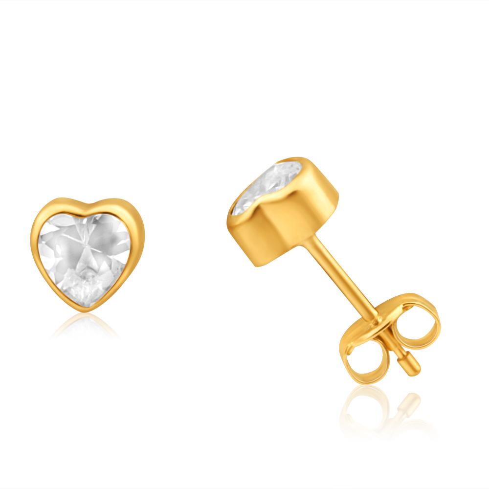 9ct Yellow Gold Cubic Zirconia Heart Shaped 5mm Stud Earrings