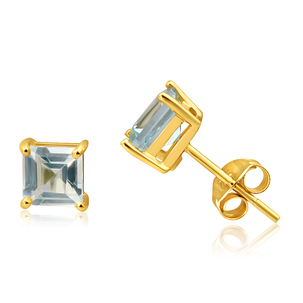 9ct Yellow Gold Princess Cut 5mm Blue Topaz Stud Earrings