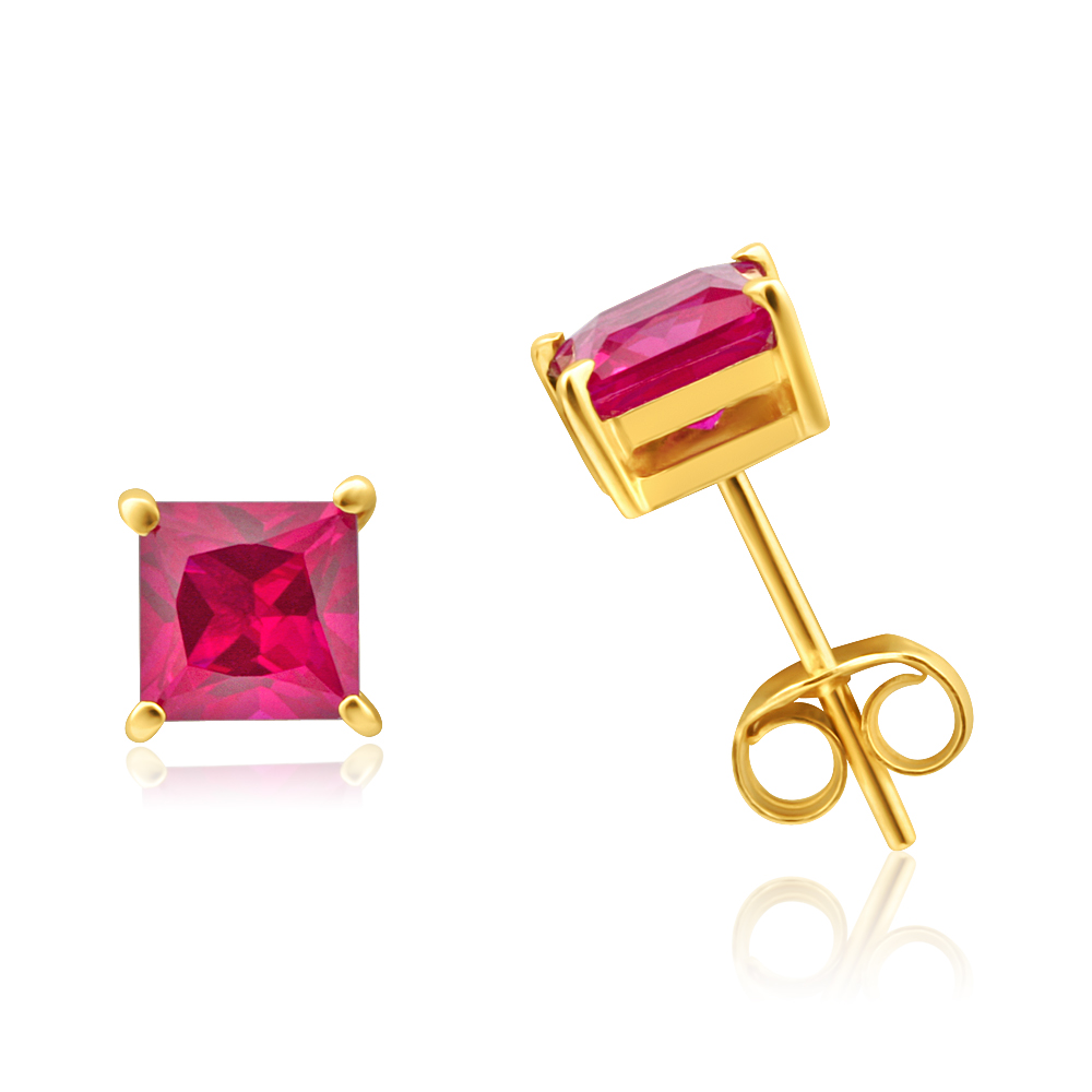 9ct Yellow Gold Created Ruby 5mm Princess Cut Stud Earrings