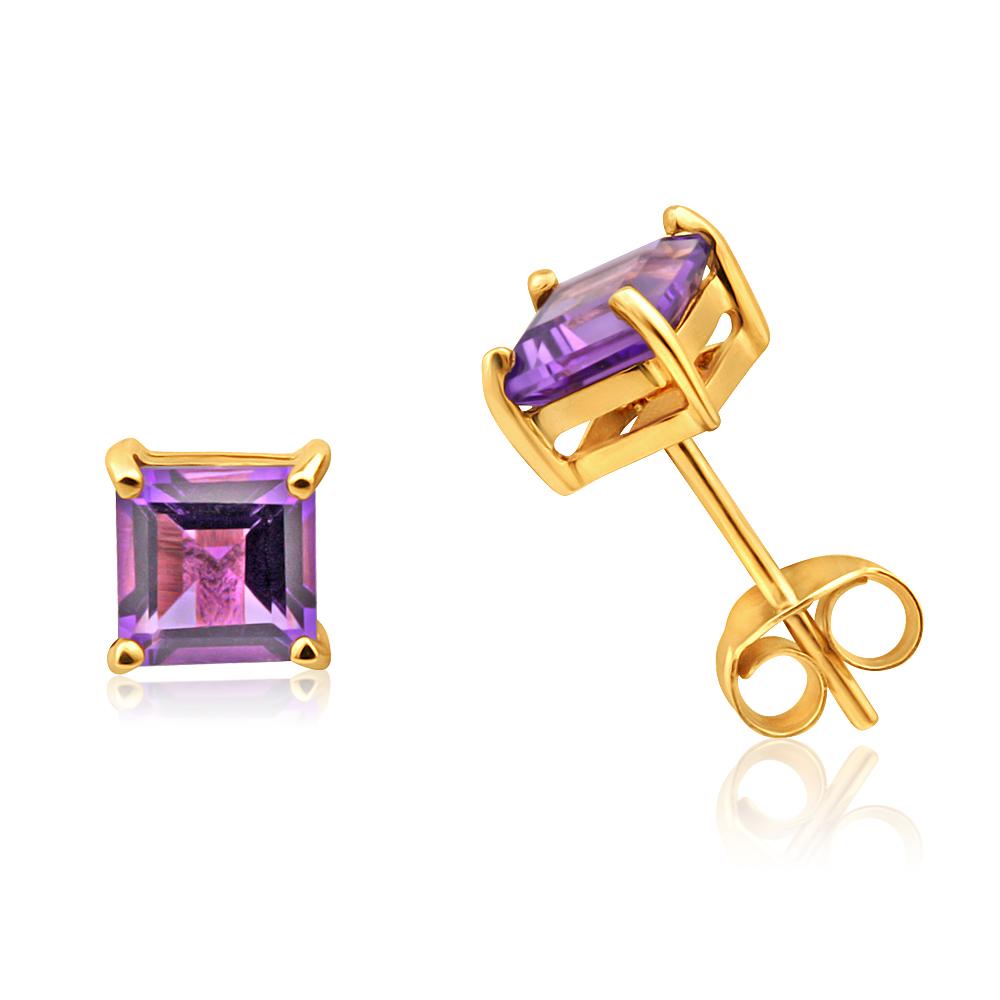 9ct Yellow Gold Amethyst Princess Cut 5mm Stud Earrings