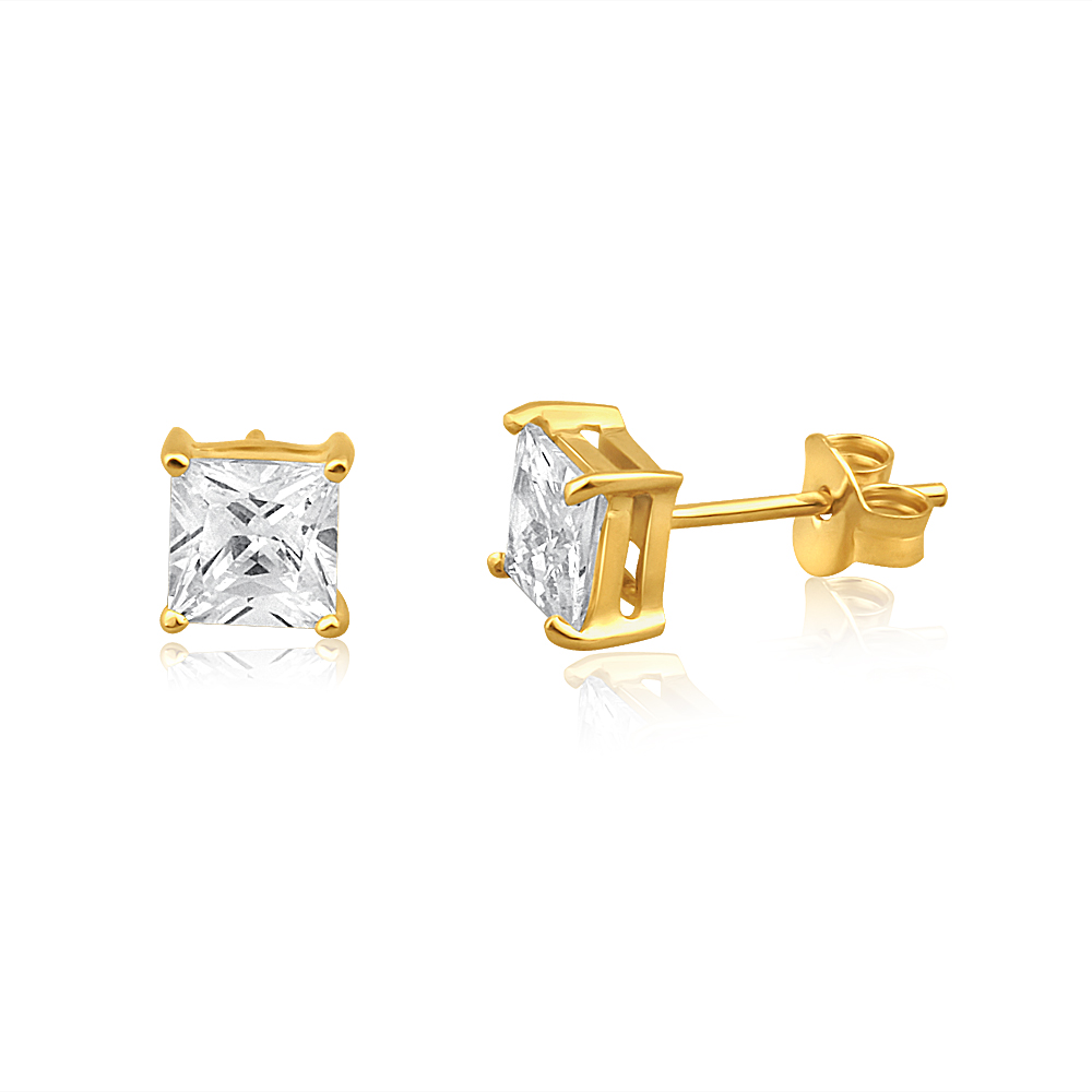 9ct Yellow Gold Princess Cut Cubic Zirconia 5mm Stud Earrings