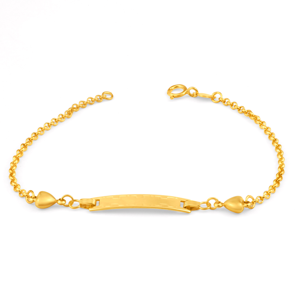 9ct Yellow Gold rectangle ID Belcher 16cm Bracelet with Heart Charms