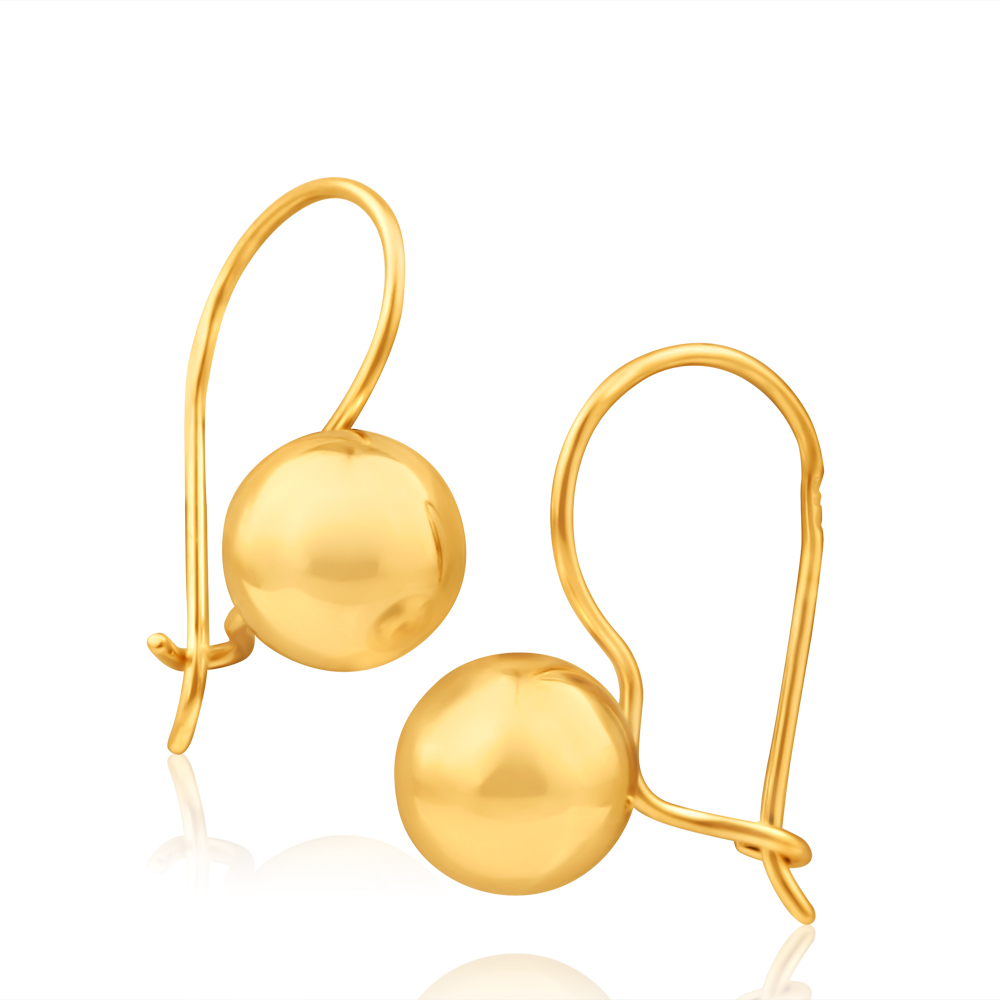 9ct Yellow Gold Euroball Drop Earrings