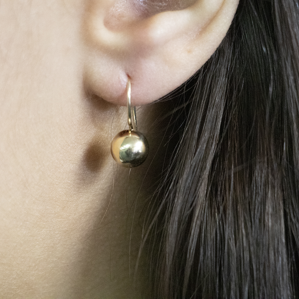 9ct Yellow Gold Euroball Drop Earrings
