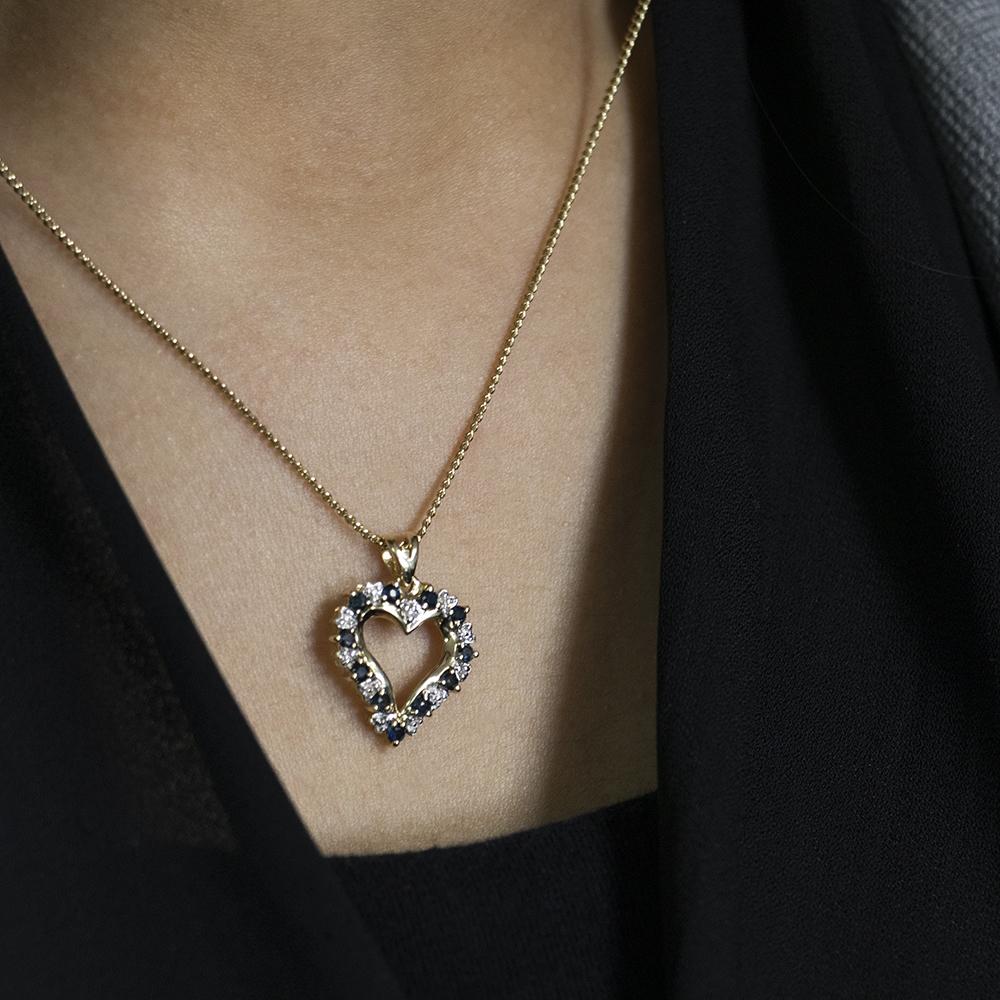 9ct Yellow Gold Diamond + Natural Sapphire Pendant