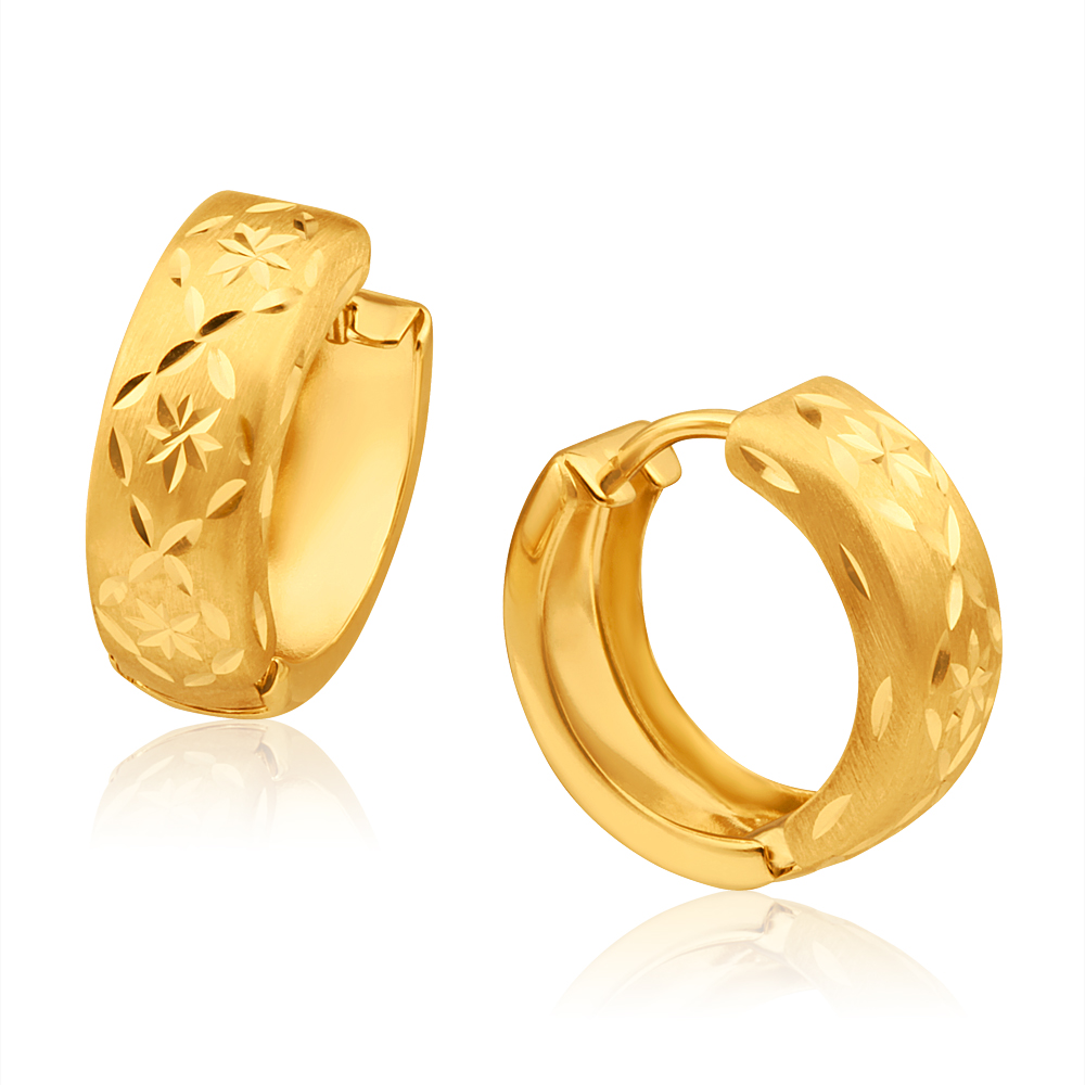 9ct Yellow Gold Dia Cut Huggie Hoop Earrings