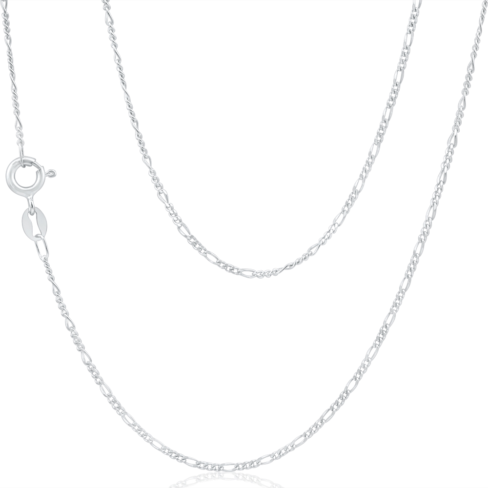 9ct White Gold Figaro 1:3 45cm Chain 40Gauge