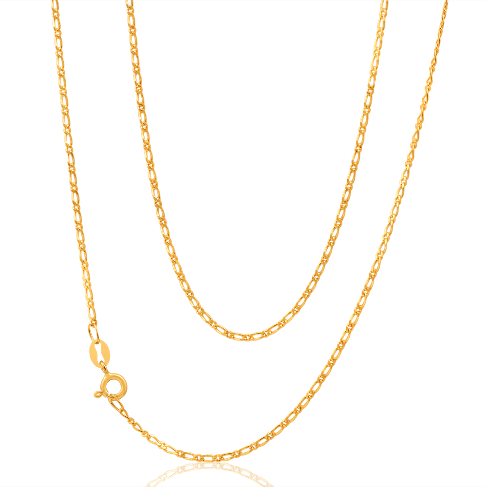 9ct Yellow Gold SOLID 40Gauge Figaro 55cm 1:1 Chain