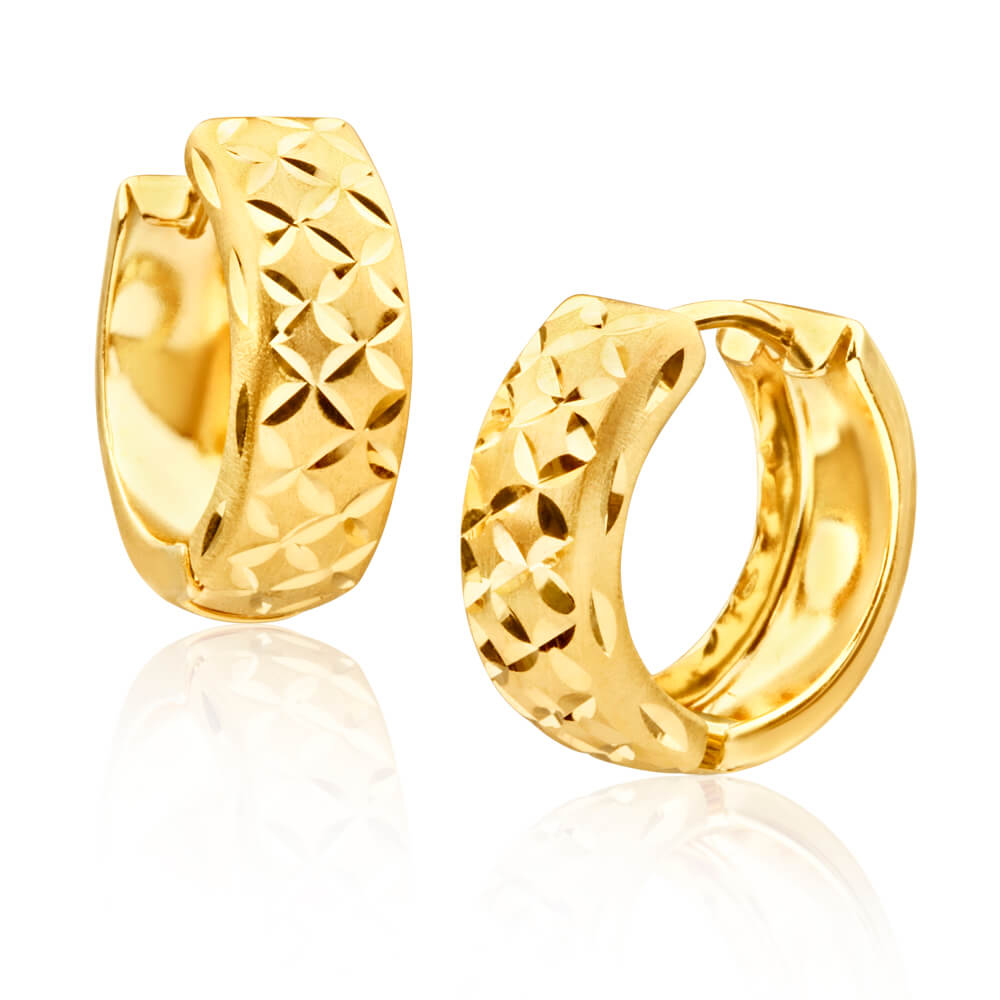 9ct Yellow Gold Dicut Huggie Hoop Earrings