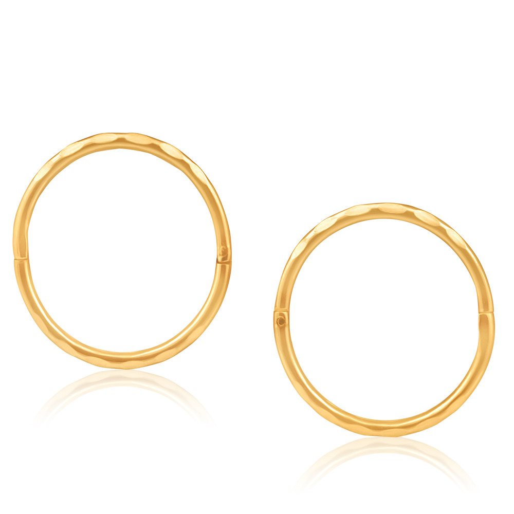 9ct Yellow Gold 13mm Faceted Sleeper Earrings