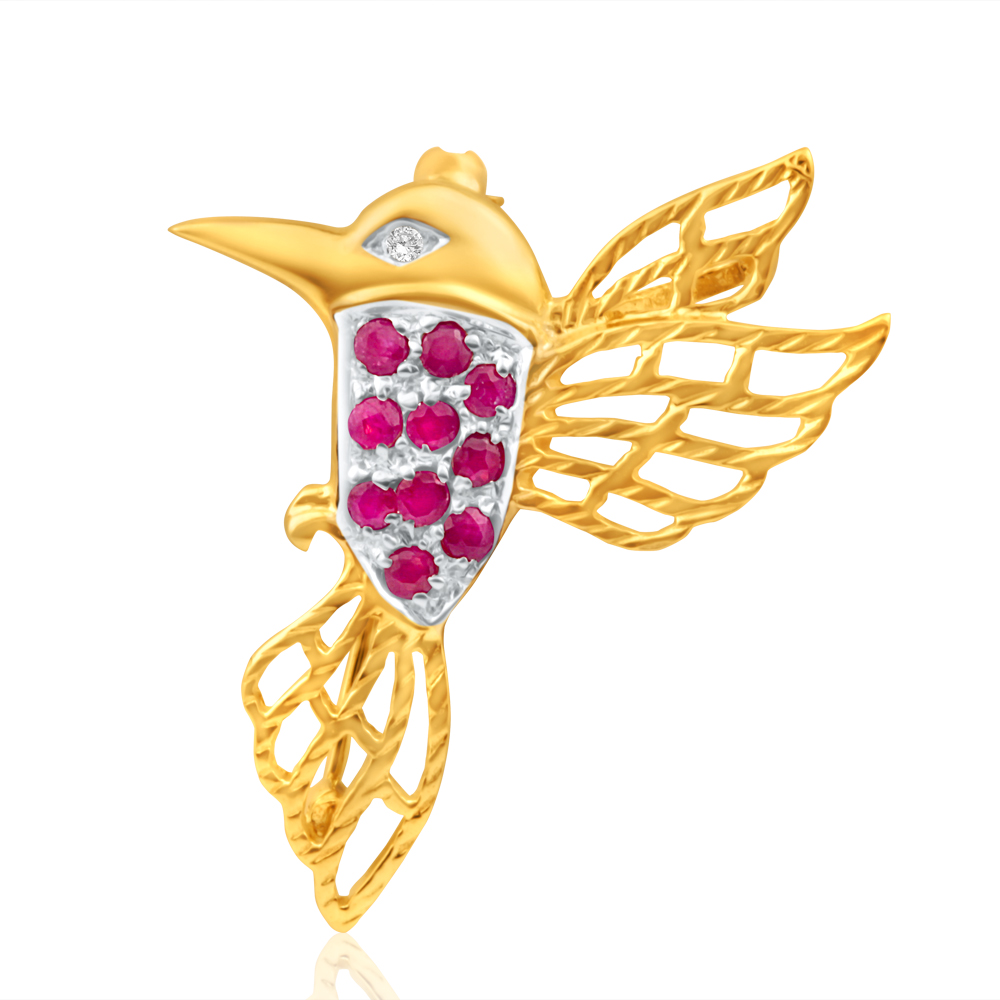 9ct Yellow Gold Natural Ruby and Diamond Hummingbird Brooch