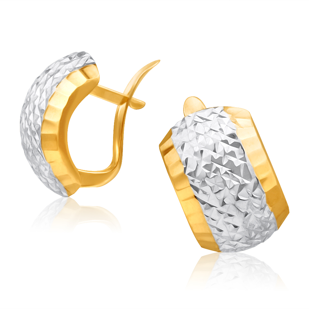9ct Yellow Gold & White Gold Hoop Earrings