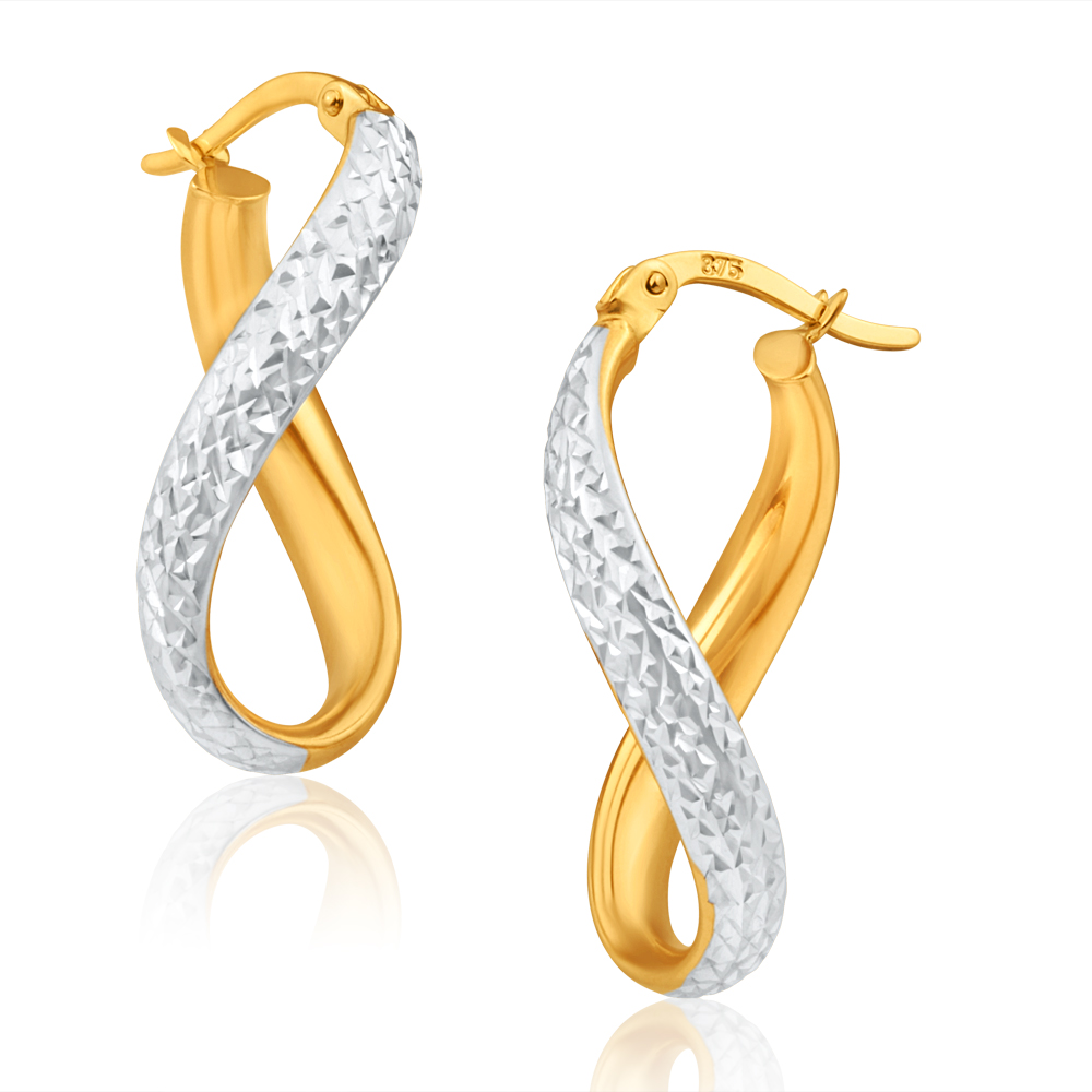9ct Yellow Gold & White Gold Dazzling Hoop Earrings