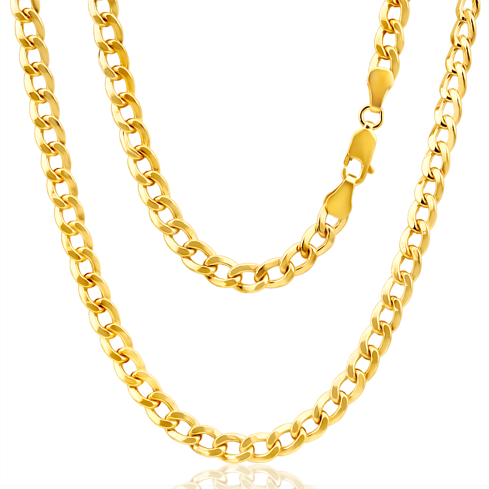9ct Radiant Yellow Gold Copper Filled Curb Chain