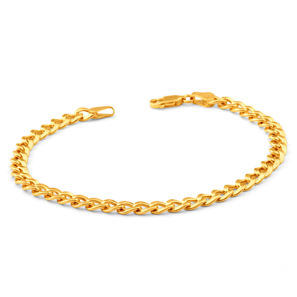 9ctYellow Gold Copper Filled 19cm Curb Bracelet 120 Gauge