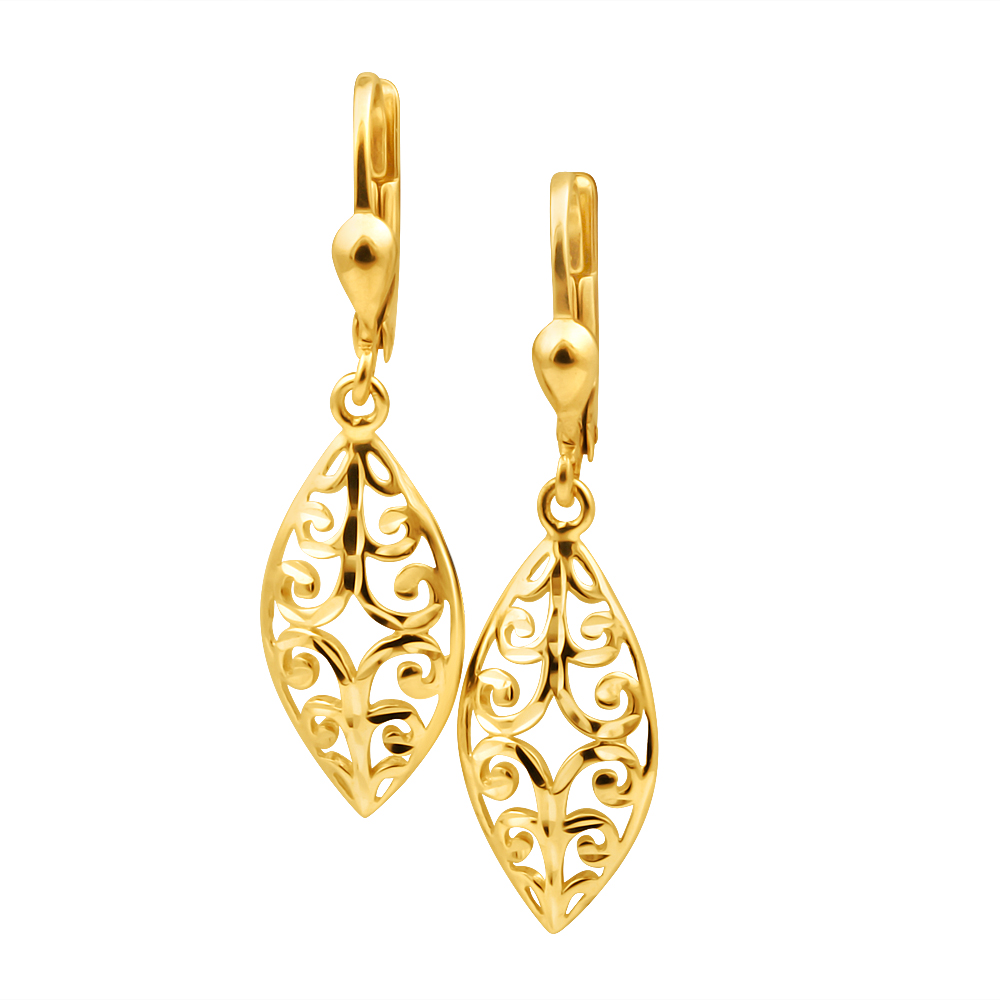 9ct Yellow Gold Filigree Shape Drop Earrings