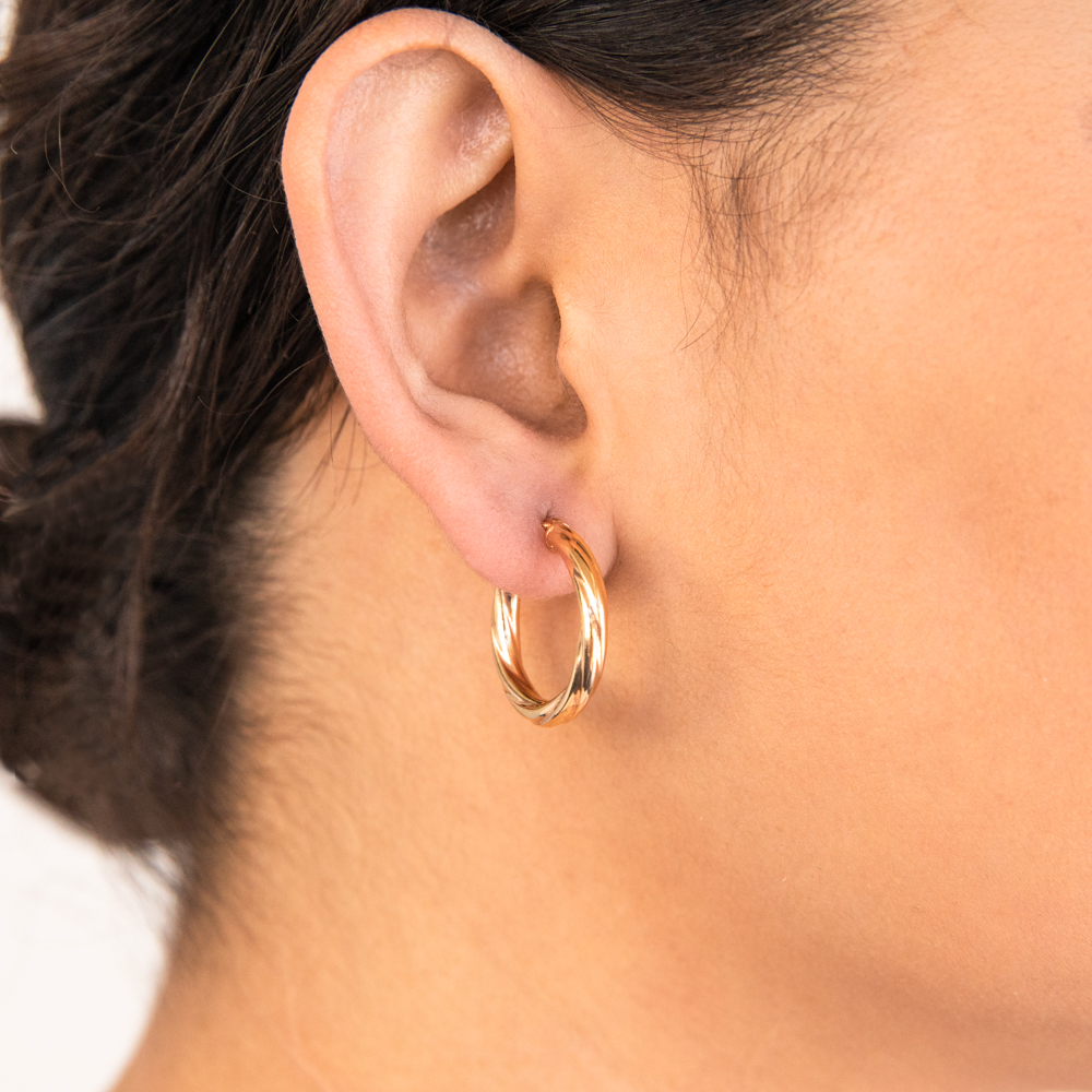 9ct Yellow Gold Silver Filled 15mm Hoop Earrings with twist pattern