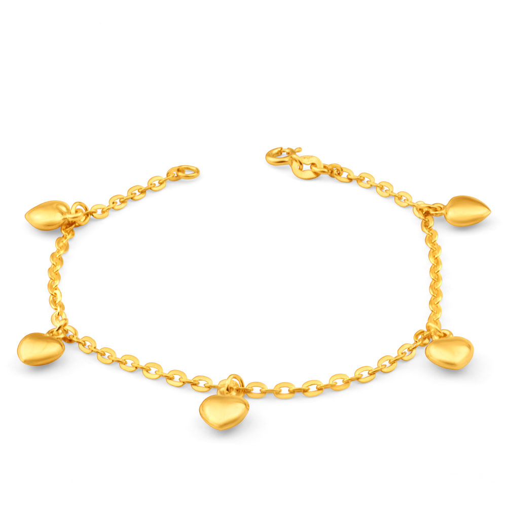 9ct Yellow Gold Silver Filled Heart Charm 19cm Bracelet
